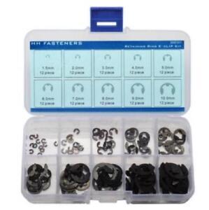 External-Retaining-Ring-E-Clip-Assortment-Set-Pack-of-120-piece-Spring-Steel