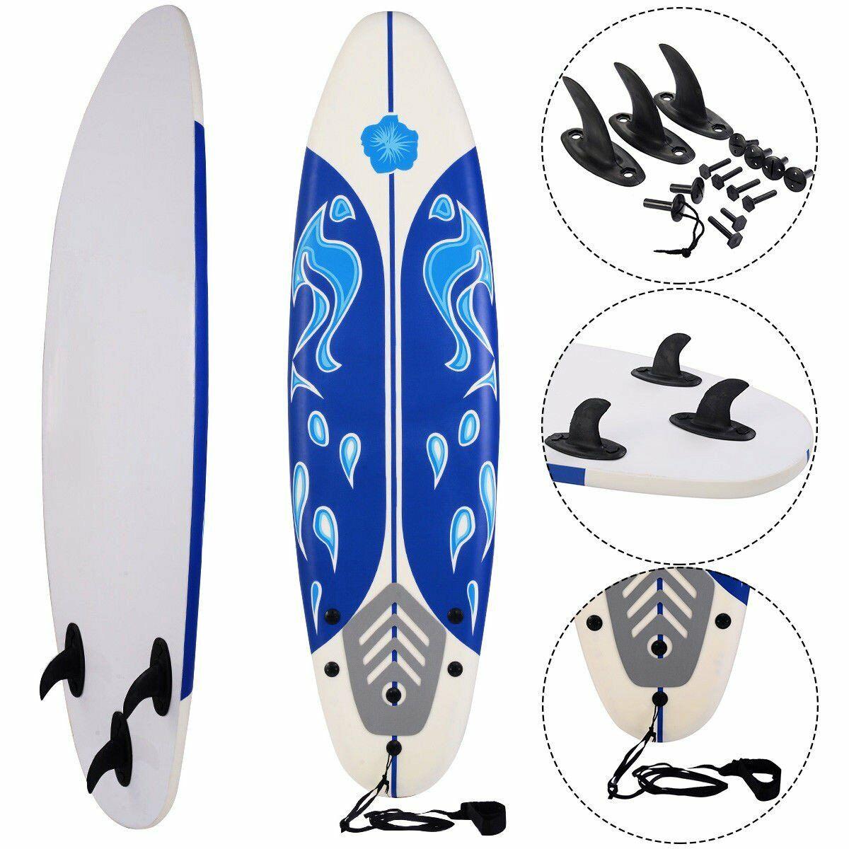 6 FT Foam Surfboard mit Leash und Fins