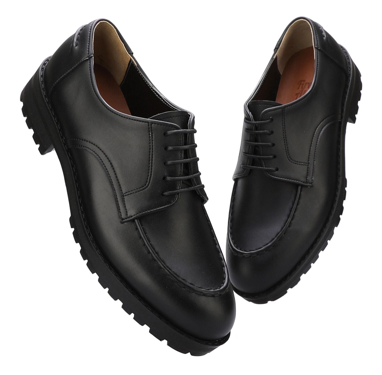 Firenze Atelier Homme fait à la main en cuir noir U-Tip Moc Toe Derby Derbies