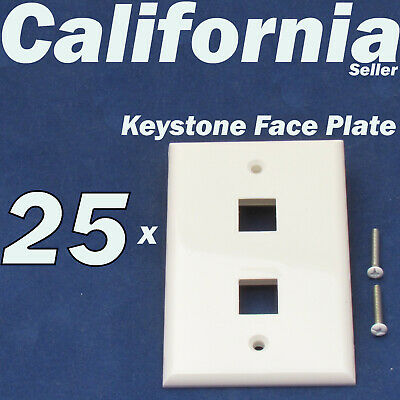 25 Faceplate 1 Port Keystone Jack RJ45 CAT5 CAT5e CAT6 Network Wall Plate White