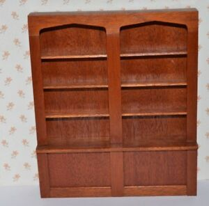 Details About Handmade 12th Scale Dolls House Wooden Double Bookcase Shop Shelving 2