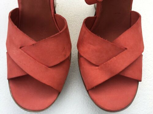 Orange Wedge Leather Sandal Size 8.5 M Tiarra Details about  /7 for All Mankind