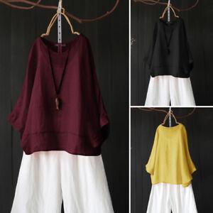 ZANZEA-Femme-Couleur-Unie-Chauve-souris-Manche-3-4-100-coton-Chemise-Shirt-Plus