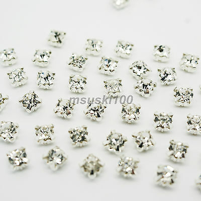 Sew On Diamante Crystal Cut Glass Rhinestones Silver Setting 50, 100 pcs 5 sizes