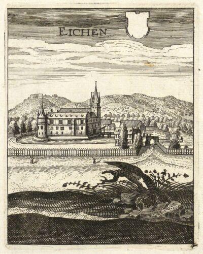 GIESELWERDER - GESAMTANSICHT - Merian - kolorierter Kupferstich 1655