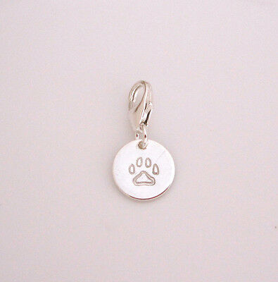 925 Sterling silver DOG CAT PAW PRINT stamped small disc coin clip on charm