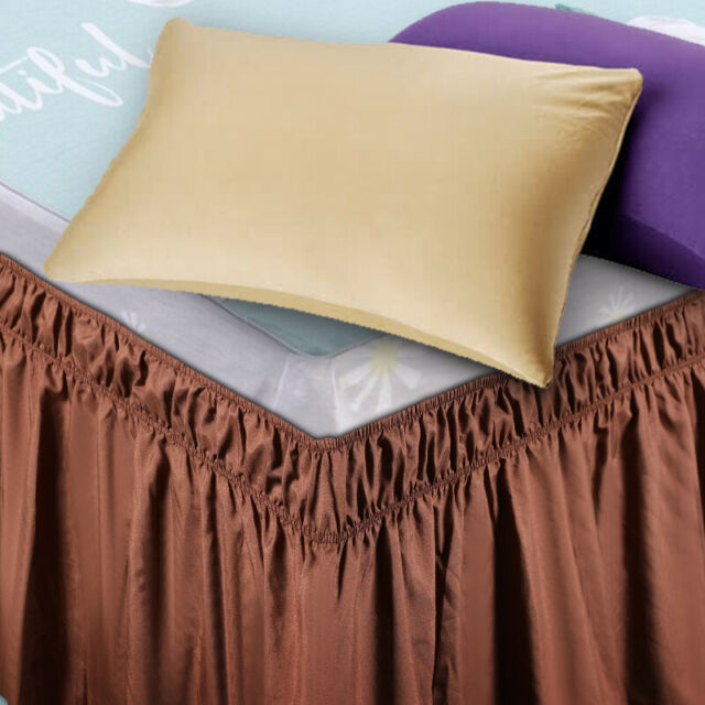 Soft Elastic Bed Ruffle Skirt Easy Fit Wrap Around Twin Full Queen King Size