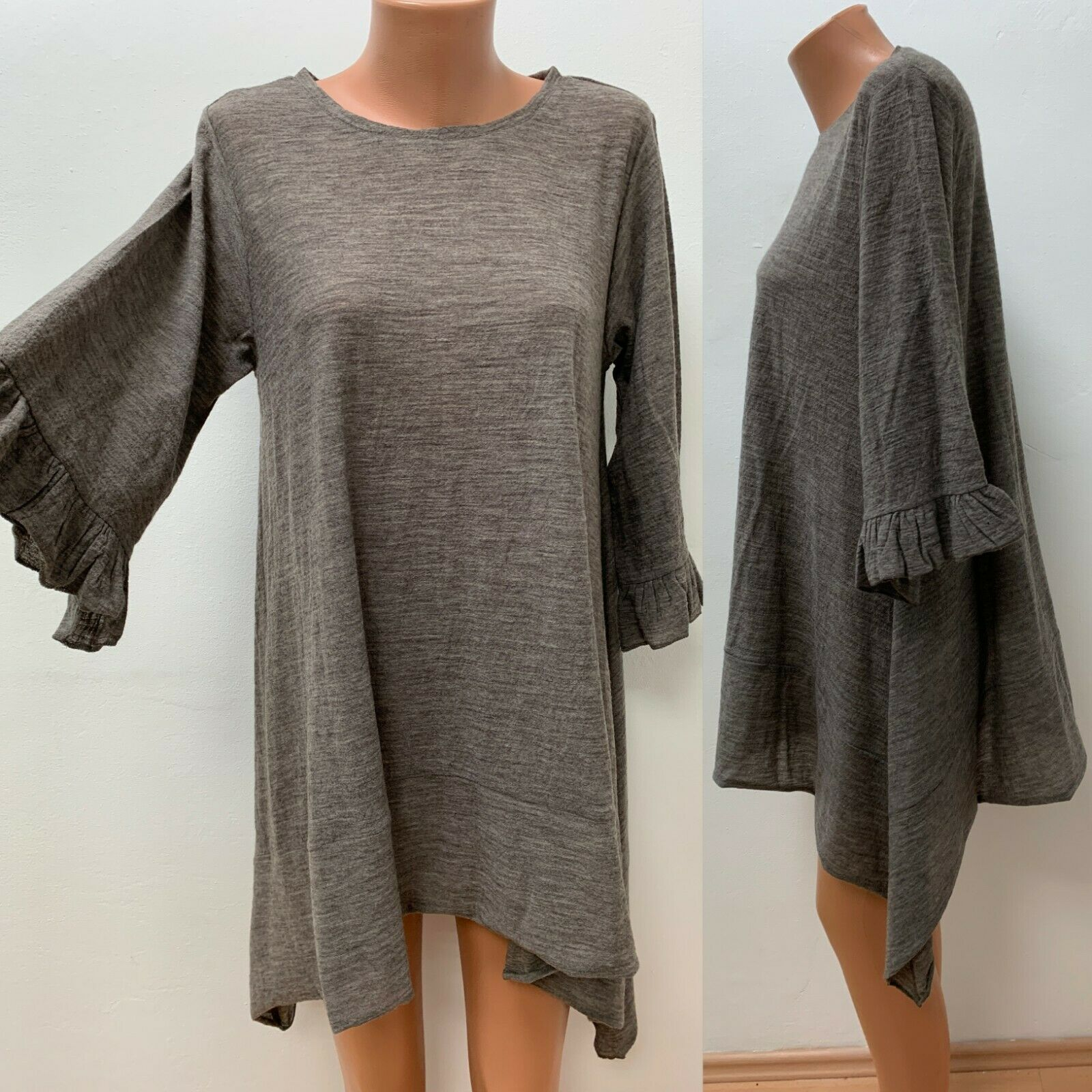 Deerberg Size L/XL Knitted Dress Tunic Asymmetric Hem Brown vllt with Wool