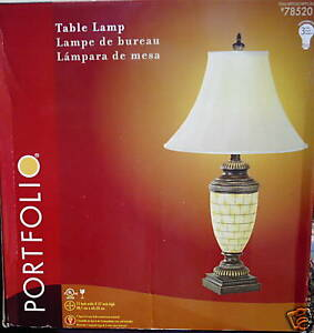 New Marble Base Table Lamp W Shade By Portfolio Nice Ebay