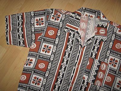 Aloha Tiki Camp Shirt - Vintage 1970's Hawaiian Polynesian Barkcloth Shirt Large