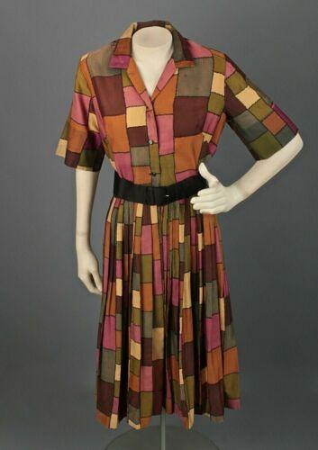 VTG Women's 50s 60s Patchwork Print Shirtwaist Dr… - image 1