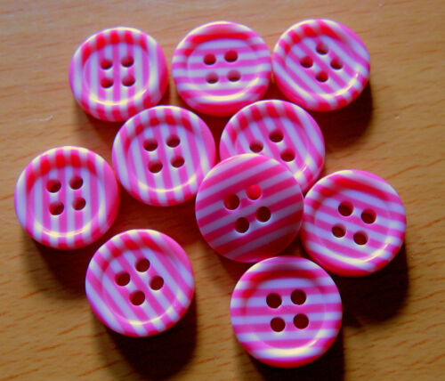 10 x Pink /& White Striped 4-Hole Resin Buttons 12mm Wide FC1A