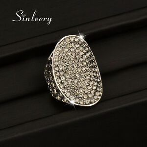 Retro-Full-Gray-Cubic-Zirconia-Big-Oval-Rings-Brand-Jewelry-Women-Silver-Ring