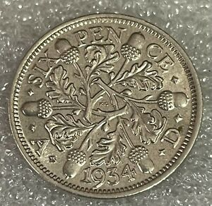 Stunning BU Grade - 1934 Great Britain Sixpence - George V  #215