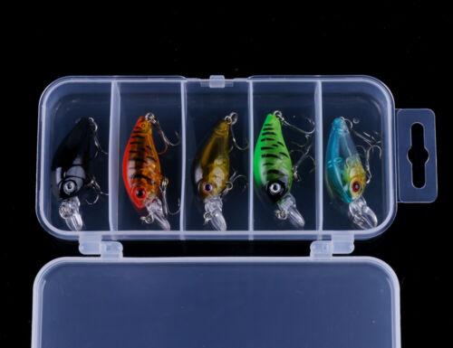 5PCS//Box Crankbait 4.5cm//4g Minnow Fishing Lures Hook Tackle Hard Bait Wobbler