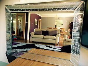 c large silver glitter mirror frame living room bling bedroom wall
