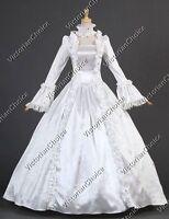 White Renaissance Victorian Bridal Dress Wedding Gown Reenactment Clothing 119