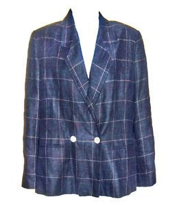 Vintage 80/'s 90/'s Women/'s Blue Linen Blend Smart Short Blazer Jacket Small UK 10 Euro 38 US 6