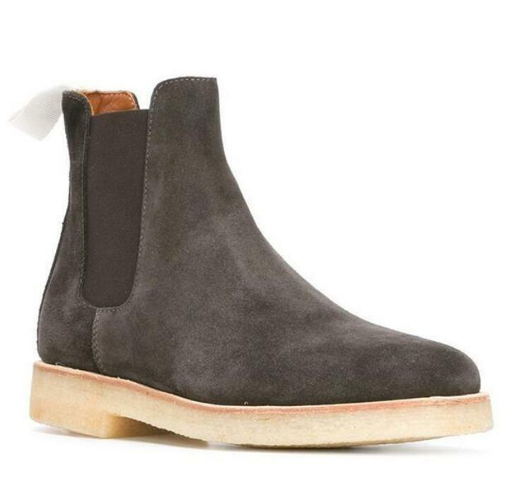 Mens Suede Slip On Ankle Boots Chelsea High Top Leather Leisure Shoes Fashion 01