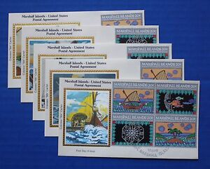 "Marshall Islands (31-4) 1984 Inauguration of Postal Service Colorano ""Silk"" FDCs"