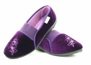 Dr Keller Andrea Purple Ladies Fur Collar Indoor Slippers