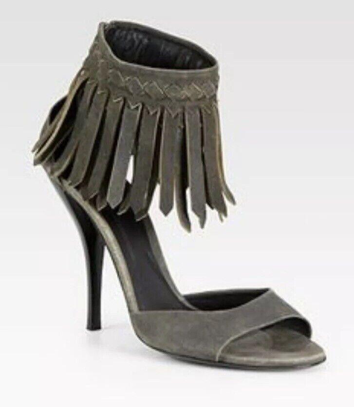 BOTTEGA VENETA Leather Fringe Back Zip Heels Size 37 EUR 7 US