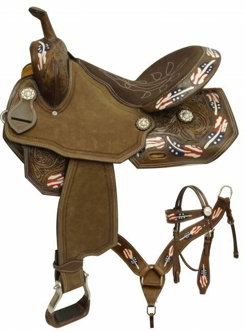 15 , 16   barrel style saddle set with red, white and bluee painted feathers