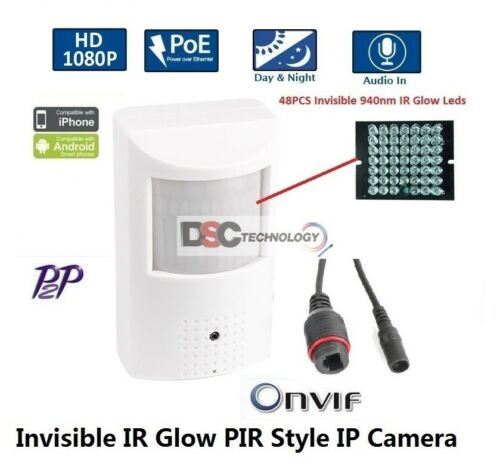 Built-in Mic 2.0MegaPixel 1080P PoE with 48PCS Invisible IR Glow LED IP Camera