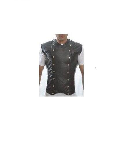 Da Uomo in Pelle Nappa Agnello Nero stecche d/'acciaio corsetto vittoriano LARP Steampunk
