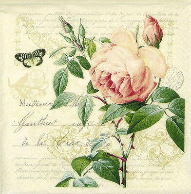 """4x Single Lunch Party Paper Napkins for Decoupage Craft Vintage """"Rose Botanical"""""""