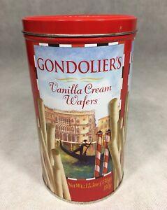 Gondolier-039-s-Vanilla-Cream-Wafers-Tin-Container-Empty-Red-Gondola