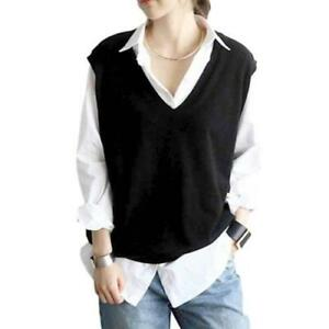 Womens-V-neck-Loose-Pullover-Knitted-Sweater-Vest-Tank-Top-Preppy-Casual-Warm-D