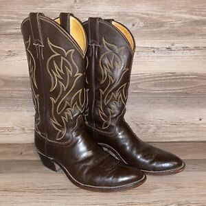 Justin-Western-Cowboy-Boots-Mens-Size-9-5-D-Brown-Leather-Style-5514-MADE-IN-USA