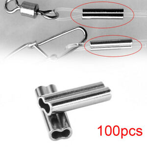 100PCS-Fishing-Wire-Tube-Double-Barrel-Crimping-Sleeves-Tackle-Connector-Tools
