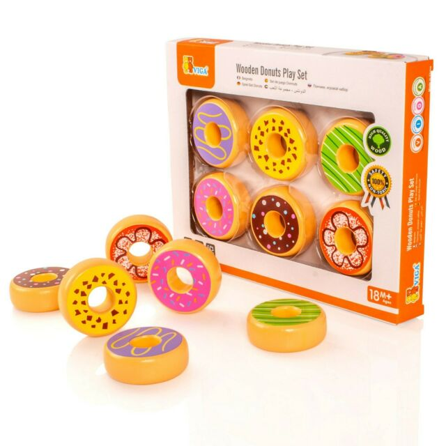 Fabulous Viga Set Of 6 Wooden Donuts Childrens Wood Play Food For Kitchen Cakes Biscuits Home Interior And Landscaping Ymoonbapapsignezvosmurscom