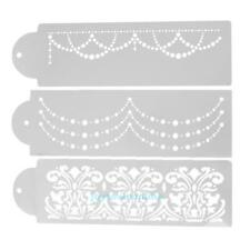 3pcs Plastic Cake Stencils Fondant Baking Decorating Moulds DIY Household Craft
