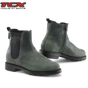 Stiefel Motorrad Verstärkt TCX Staten Waterproof IN Leder Grau Anthrazit