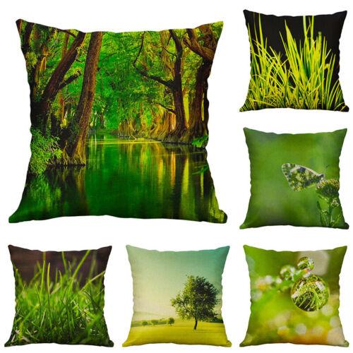 Flowers Landscape Cotton Linen Sofa Waist Cushion Cover Pillow Case Home Decor