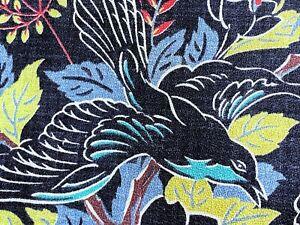 SALE! Tiffany Box Blue Birds Barkcloth Vintage Fabric Drape Curtain Mid Century