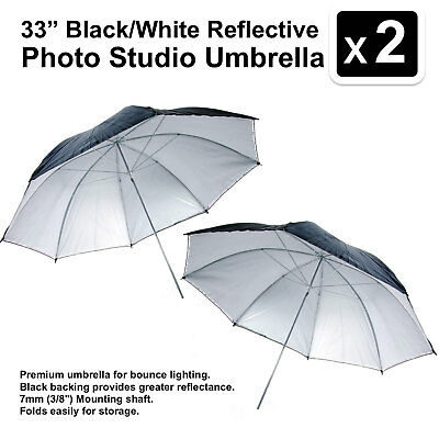 2 X 33 Inch Black/white Reflective Photo Studio Umbrella Photography Light Video Hoge Veiligheid
