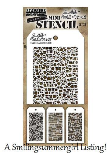 Stone /& Mosaic Designs Tim Holtz Set #28 3 Mini Layering Stencils Slate