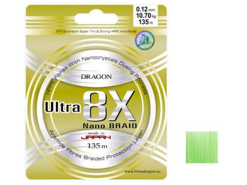 fluo green 135m 0,06-0,25mm Geflochtene Dragon Momoi Ultra 8x Nano braid