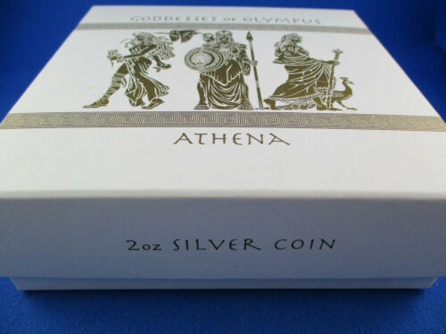 2oz Silver Coin HIGH RELIEF ANTIQUE. 2015 GODDESSES OF OLYMPUS ATHENA