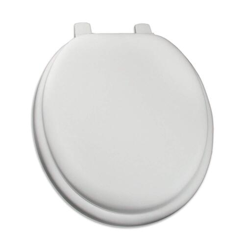 White Soft Padded Cushion Toilet Seat Round Standard Size New Solid Color