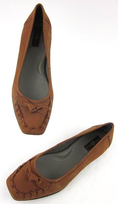 Born Born Born Crown Square Toe Bow Flats Dark Camel Leather Sz 9.5 296f34