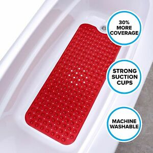 Extra Long Bath Mat Red Non Slip Bath Safety Mat With