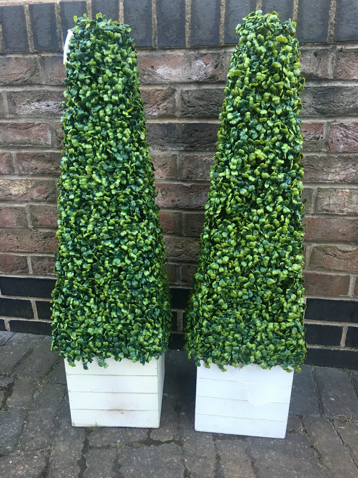 2 of ARTIFICIAL TOPIARY BOXWOOD TREE PLANT PYRAMID CONE 3FT  90cm  WITH PLANTER