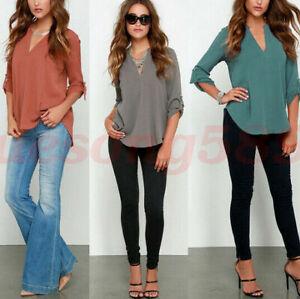 Summer-Women-Shirt-Chiffon-V-Neck-Collar-Loose-Long-Tops-Blouse-Sleeve-Casual