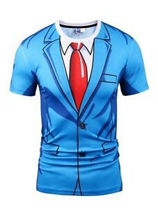 Costume-Bleu-Costume-T-Shirt-Nouveaute-Costume-Robe-Fantaisie-All-Over-Print-imprime
