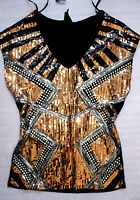 Bebe Black Silver Bronze Tropical Sequin Studded Top Shirt Medium M